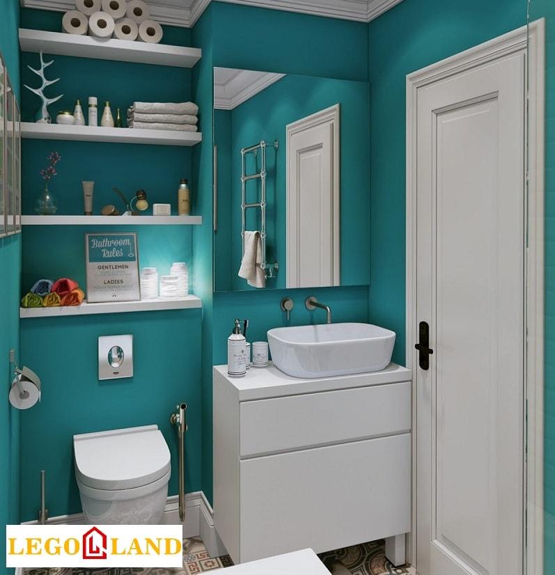 Phòng tắm được kết hợp màu trắng - xanh-min