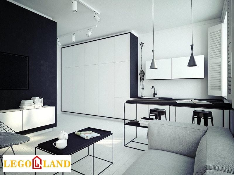 Sự kết hợp giữa trắng và đen cho căn hộ studio-min