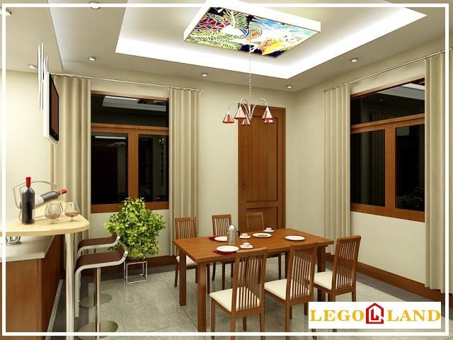 Mẫu trần thạch cao dành cho phòng bếp khá sang trọng cho căn phòng bếp chật