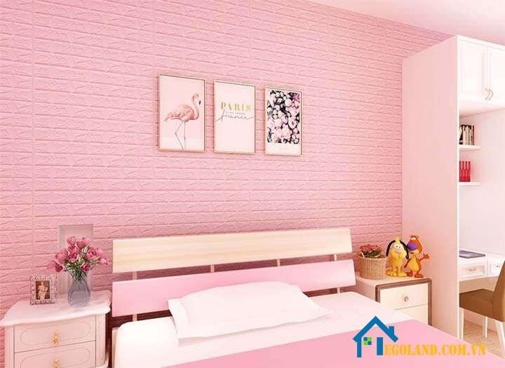 Trang trí phòng ngủ bằng giấy dán, xốp dán tường