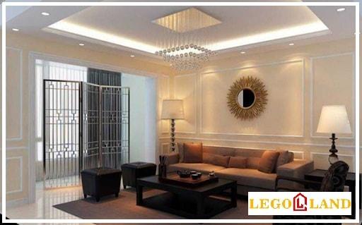 Mẫu trần cho phòng khách kèm theo những họa tiết vuông đẹp