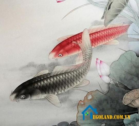 Bức tranh cá chép đầm sen