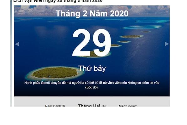 Ngày nhuận 29 tháng 2 năm 2020