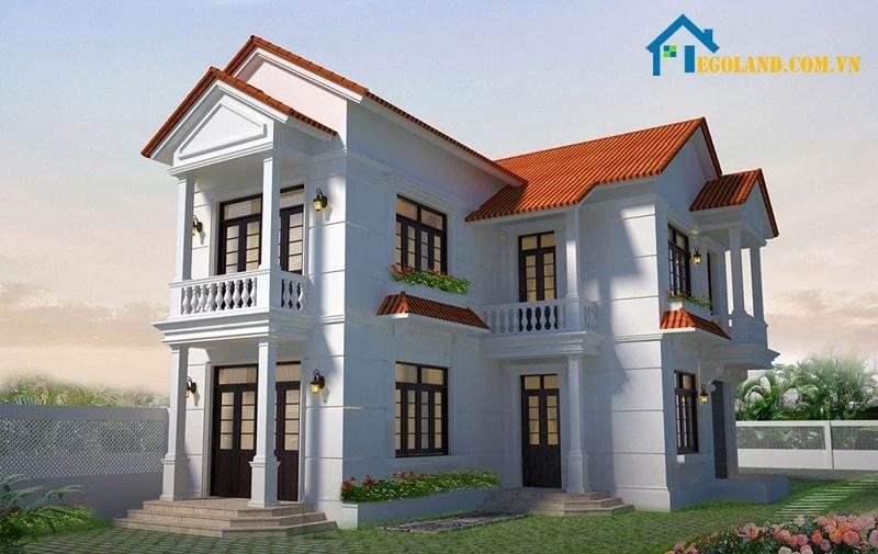 Thiết kế nhà 2 tầng chữ L rộng rãi, độc đáo
