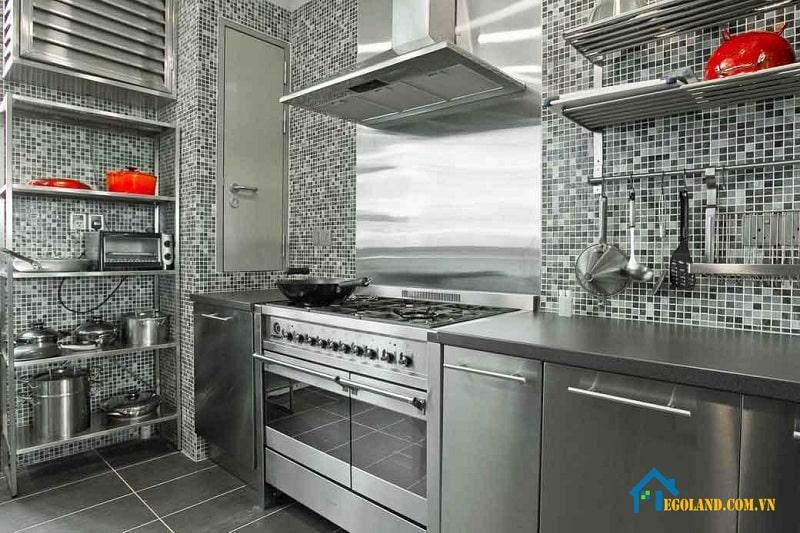 Bề mặt trơn bóng thuận tiện cho việc vệ sinh tủ bếp