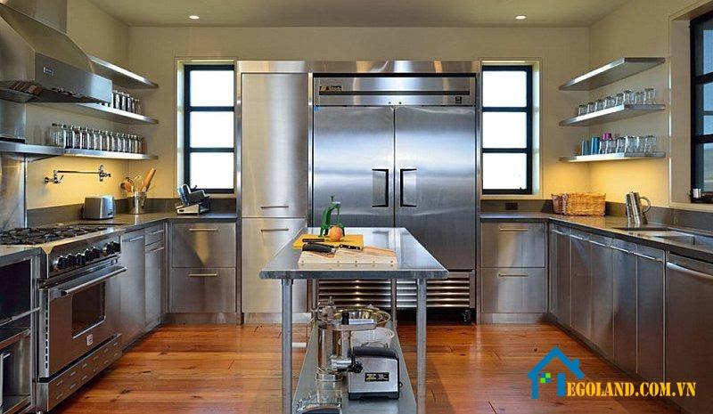 Mẫu tủ bếp Inox đẹp, tiện ích