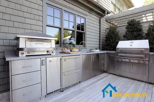 Mẫu tủ bếp Inox hình chữ L