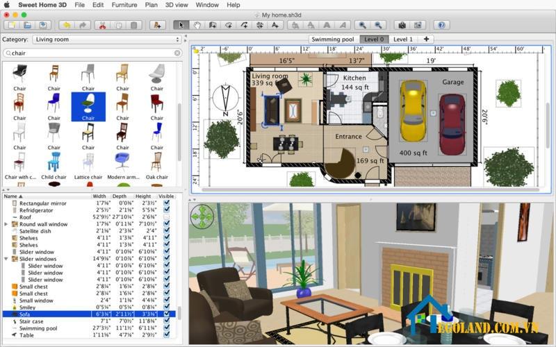 Phần mềm thiết kế Sweet Home 3D
