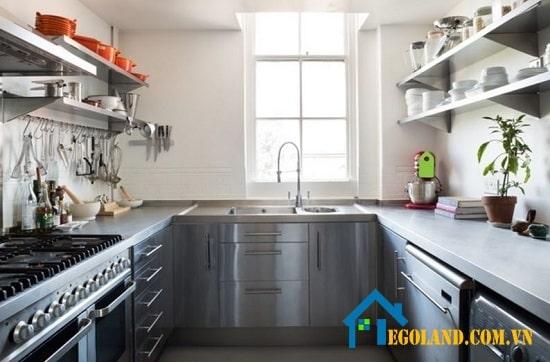 Mẫu tủ bếp Inox hình chữ U