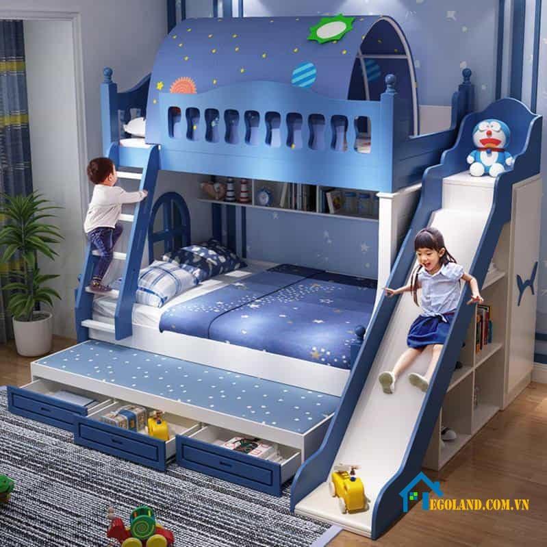 Mẫu giường tầng thông minh tích hợp cầu trượt cho bé