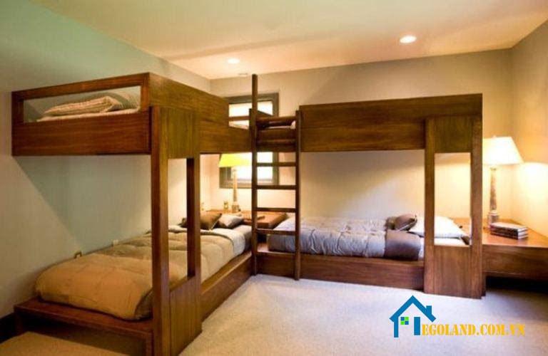 Mẫu giường tầng tích hợp 4 giường ngủ