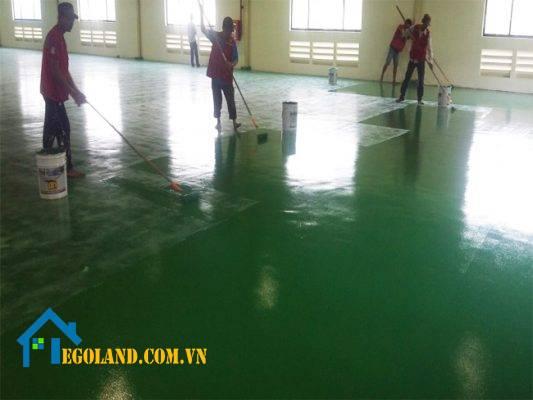 Bề mặt sàn đang thi công từ đơn vị Thợ sơn TKS