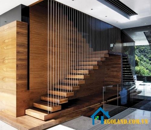 Dây cáp khiến cầu thang gỗ trở nên mới lạ