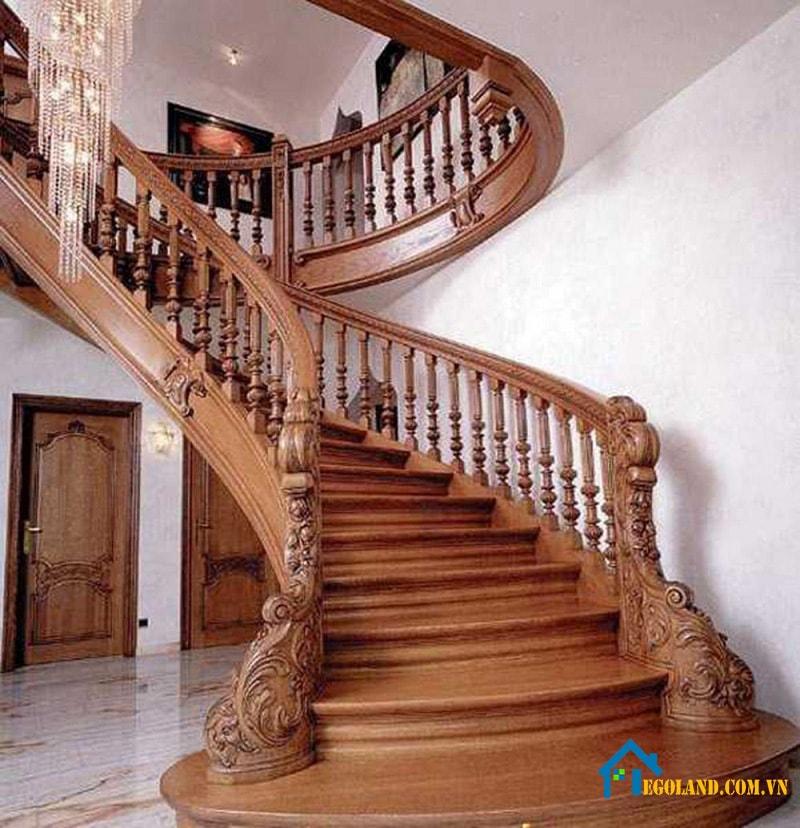 Mẫu cầu thang dành cho biệt thự nhà rộng