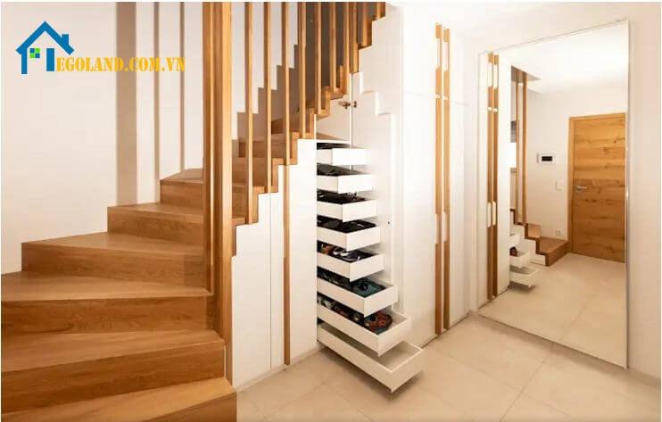 Mẫu cầu thang gỗ công nghiệp