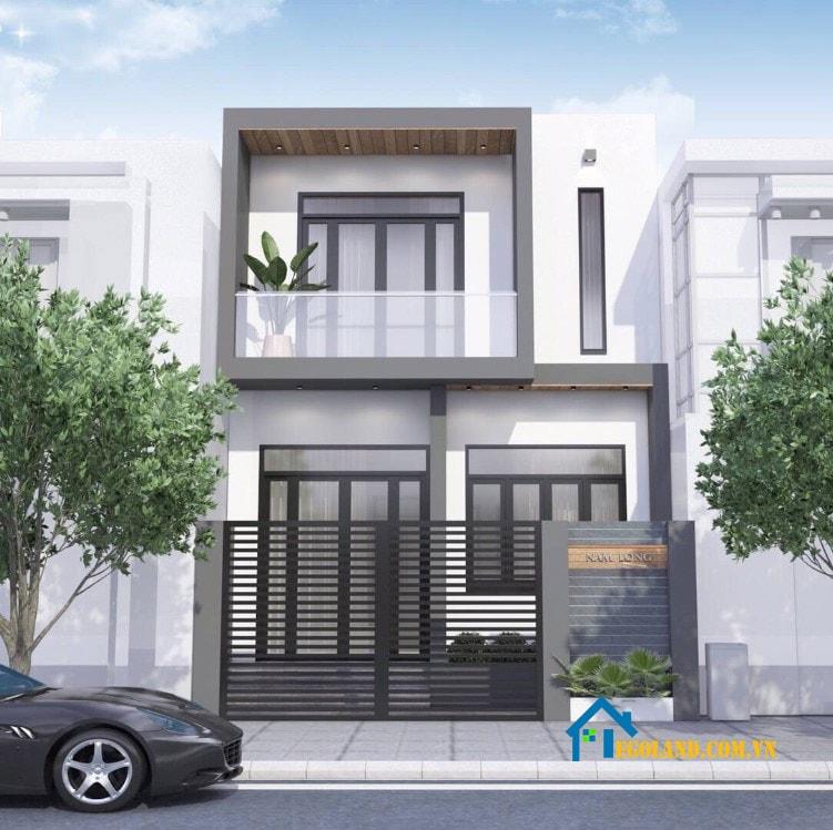 Mẫu 1 : Mẫu nhà 2 tầng vuông mặt đường