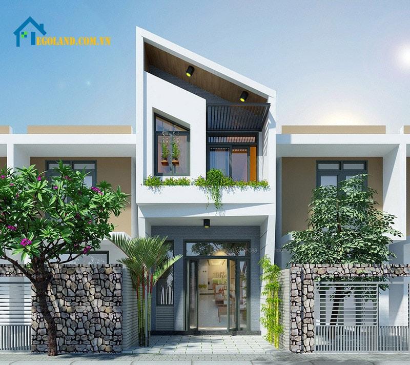 Mẫu 9 : Nhà 2 tầng mái lát