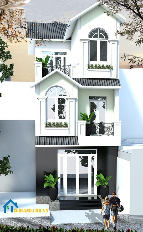 Mẫu nhà phố mái ngói 3 tầng
