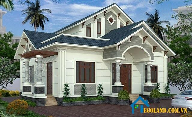 Mẫu nhà phố mái ngói đẹp theo phong cách biệt thự