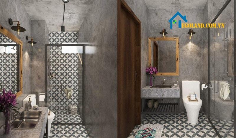 Đây là mẫu phòng vệ sinh theo phong cách tối giản thích hợp với căn phòng có diện tích hạn chế