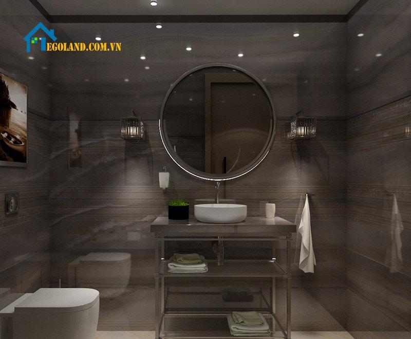 Gia chủ sẽ có được một không gian đẳng cấp nhất khi thiết kế phòng vệ sinh với gam màu trầm