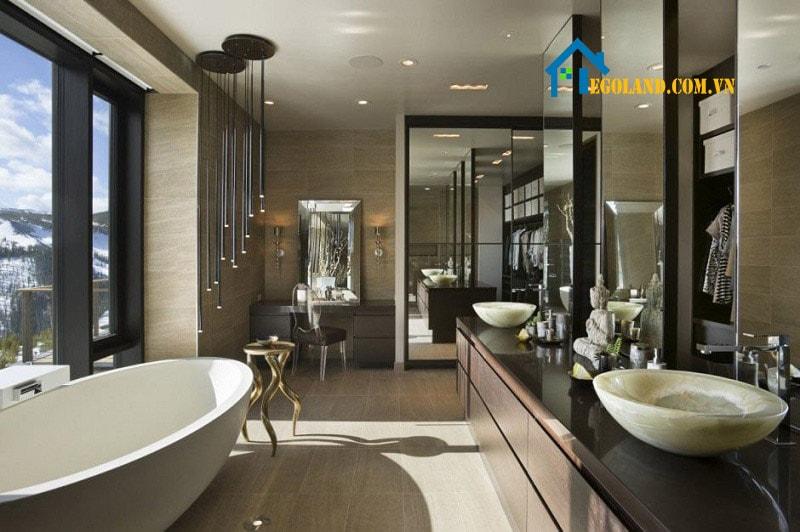 Mẫu thiết kế phòng vệ sinh tường và sàn sử dụng cùng một loại đá mang đến sự sang trọng
