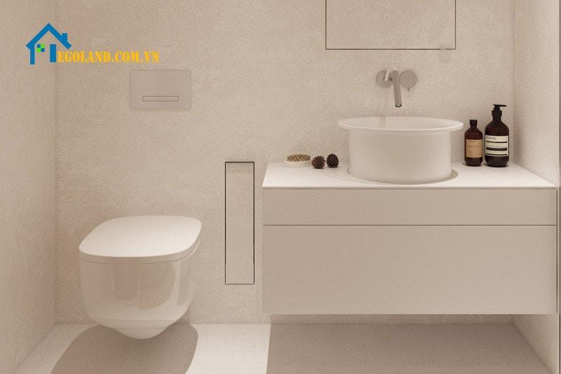 Nhà vệ sinh thiết kế màu trắng chính là sự lựa chọn tối ưu của nhiều gia chủ