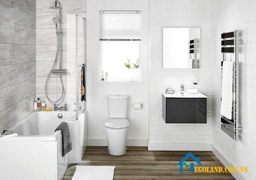 Trắng là gam màu nổi bật nhất thường được sử dụng để thiết kế nhà vệ sinh