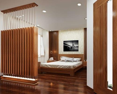 Vách ngăn phòng ngủ bằng gỗ tự nhiên
