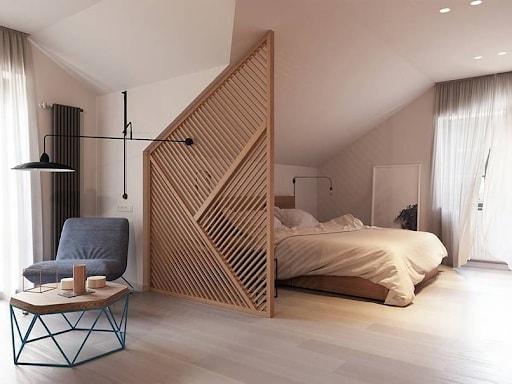 Vách ngăn phòng ngủ thường dùng cho không gian nhỏ