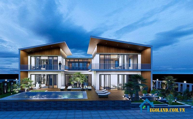 Biệt thự hai tầng nhà vườn theo kiểu mở hiện đại