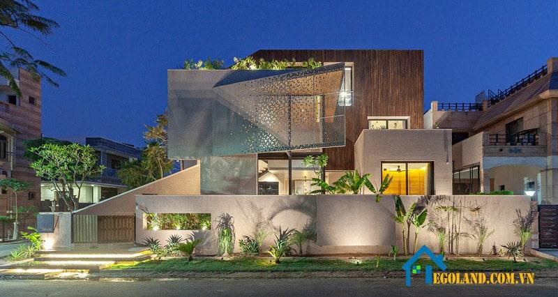 Biệt thự nhà vườn 2 tầng dạng hình khối độc đáo