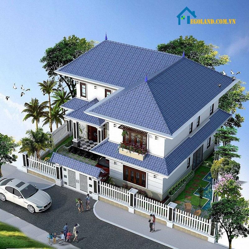 Thiết kế biệt thự hai tầng nhà vườn dạng chữ L