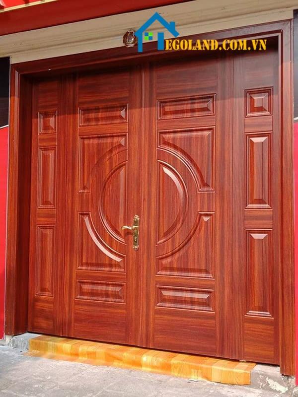 Cửa thép vân gỗ 4 cánh phun sơn tĩnh điện