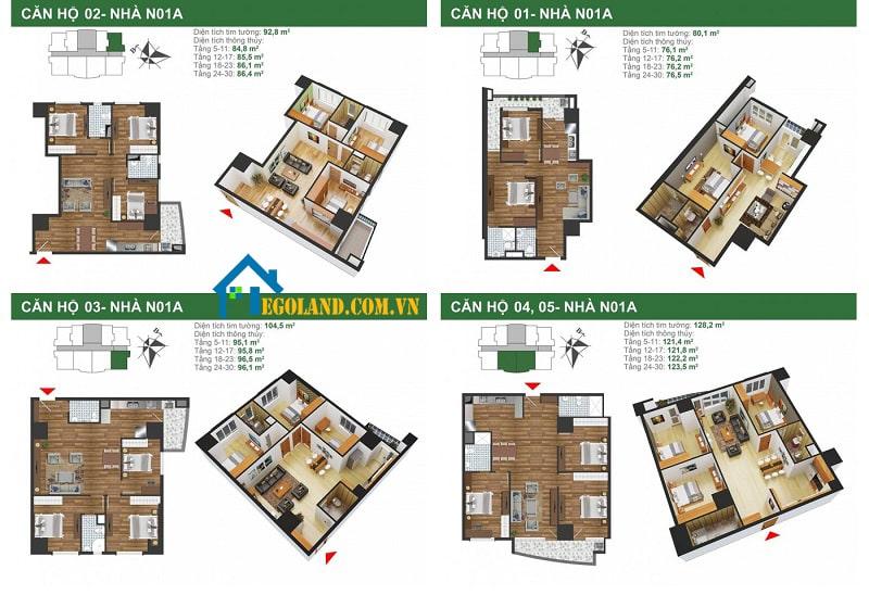 Thiết kế mặt bằng của căn chung cư Tân Mai k35