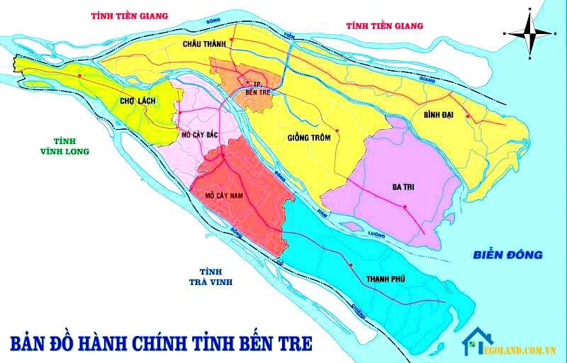 Bản đồ Bến Tre về hành chính dân sự