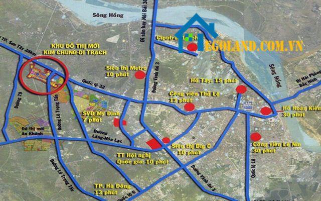 Vị trí thuận lợi của khu đô thị Kim Chung Di Trạch