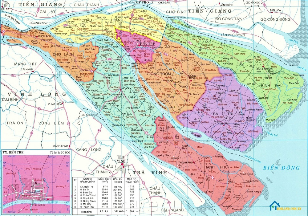 Bản đồ Bến Tre khổ lớn