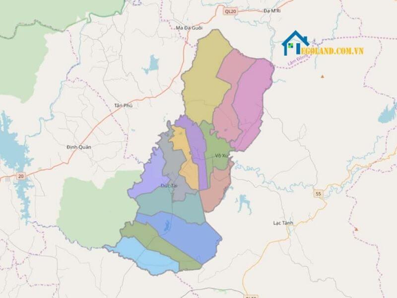 Bản đồ Bình Thuận về hành chính
