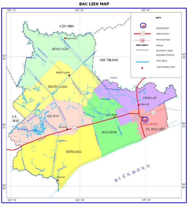 Bản đồ Bạc Liêu về quy hoach và sử dụng đất