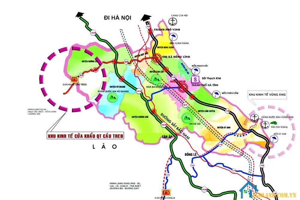 Bản đồ Hà Tĩnh khổ lớn về giao thông