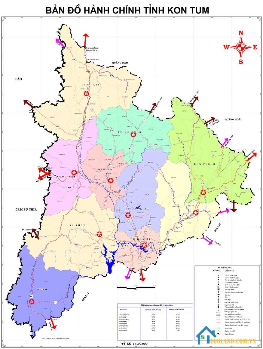 Bản đồ Kon Tum về hành chính