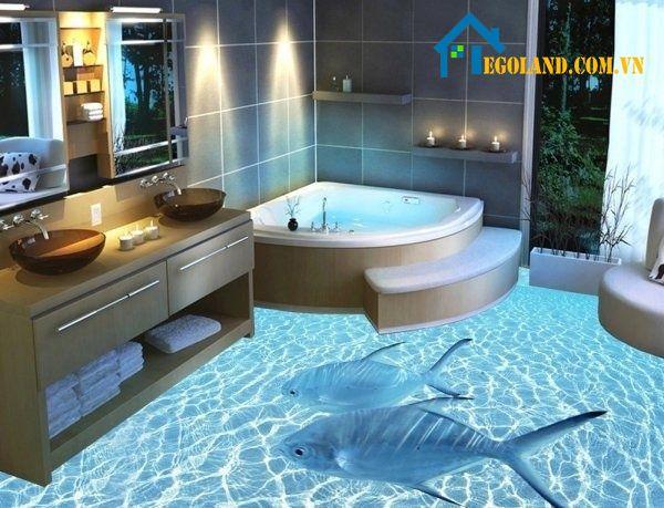 Đây là dạng phòng tắm 3D với thiết kế giống hồ bơi