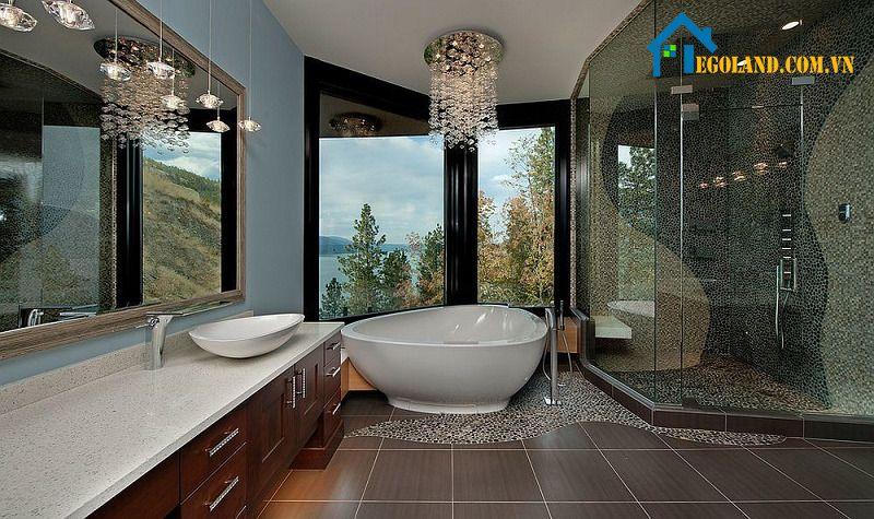 Đây là thiết kế cho những gia đình có không gian phòng tắm rộng