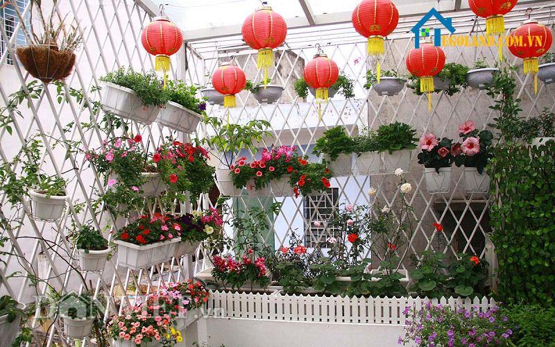 Làm sân vườn bằng những chậu hoa nhỏ treo trên hàng rào gỗ