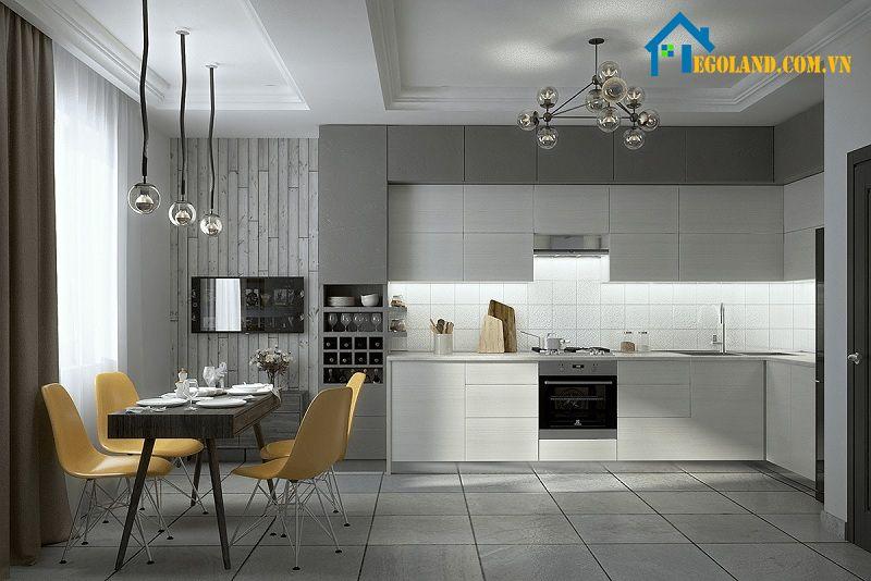 Mẫu nhà bếp độc đáo, ấn tượng với sự kết hợp giữa gam màu trắng và ghi xám