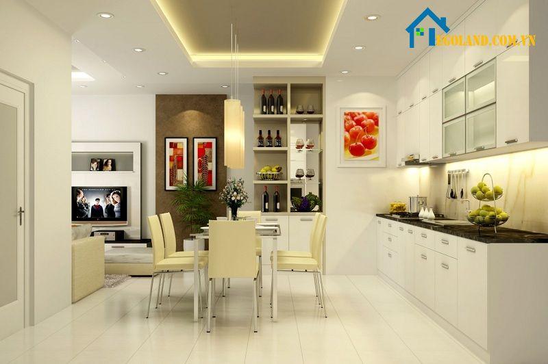 Mẫu nhà bếp đơn giản với tông màu chủ đạo là trắng và vàng nhạt