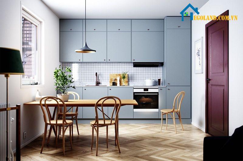 Mẫu nhà bếp nông thôn đơn giản, ấn tượng với gam màu xám xanh bắt mắt