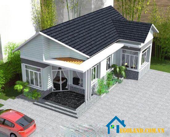 Mẫu nhà cấp 4 hình chữ L với thiết kế hiện đại gồm một phòng bếp, một phòng khách và một phòng ngủ thích hợp cho vợ chồng trẻ
