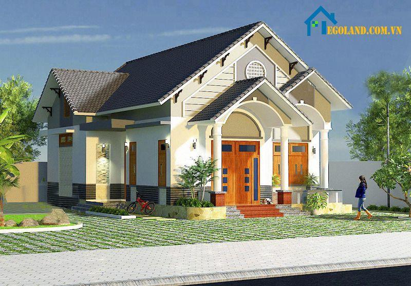 Mẫu nhà cấp bốn dạng mái thái biệt thự thu nhỏ rất hoành tráng và lung linh